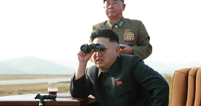 North Korean leader Kim Jong Un looks through a pair of binoculars as he guides a flight drill for the inspection of airmen of the Korean People's Army (KPA)