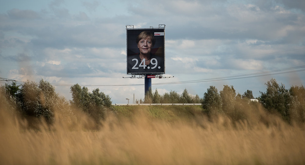 Affiche du bloc d'Angela Merkel