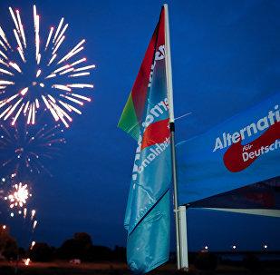 Un drapeau du parti allemand Alternative für Deutschland