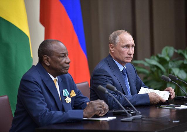 Alpha Condé et Vladimir Poutine