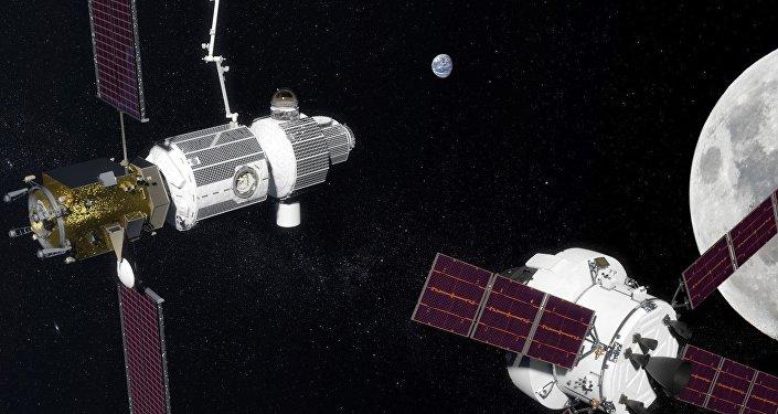 Vue d'artiste d'un vaisseau Orion visitant la station Deep Space Gateway