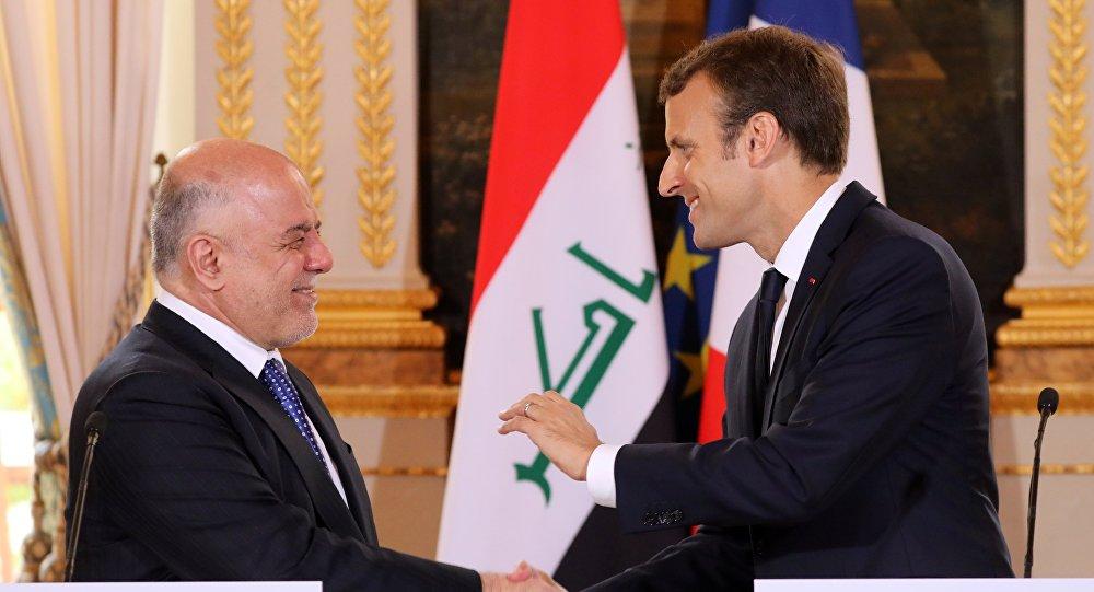 Le Premier ministre irakien Haider al-Abadi et le Président français Emmanuel Macron à Paris