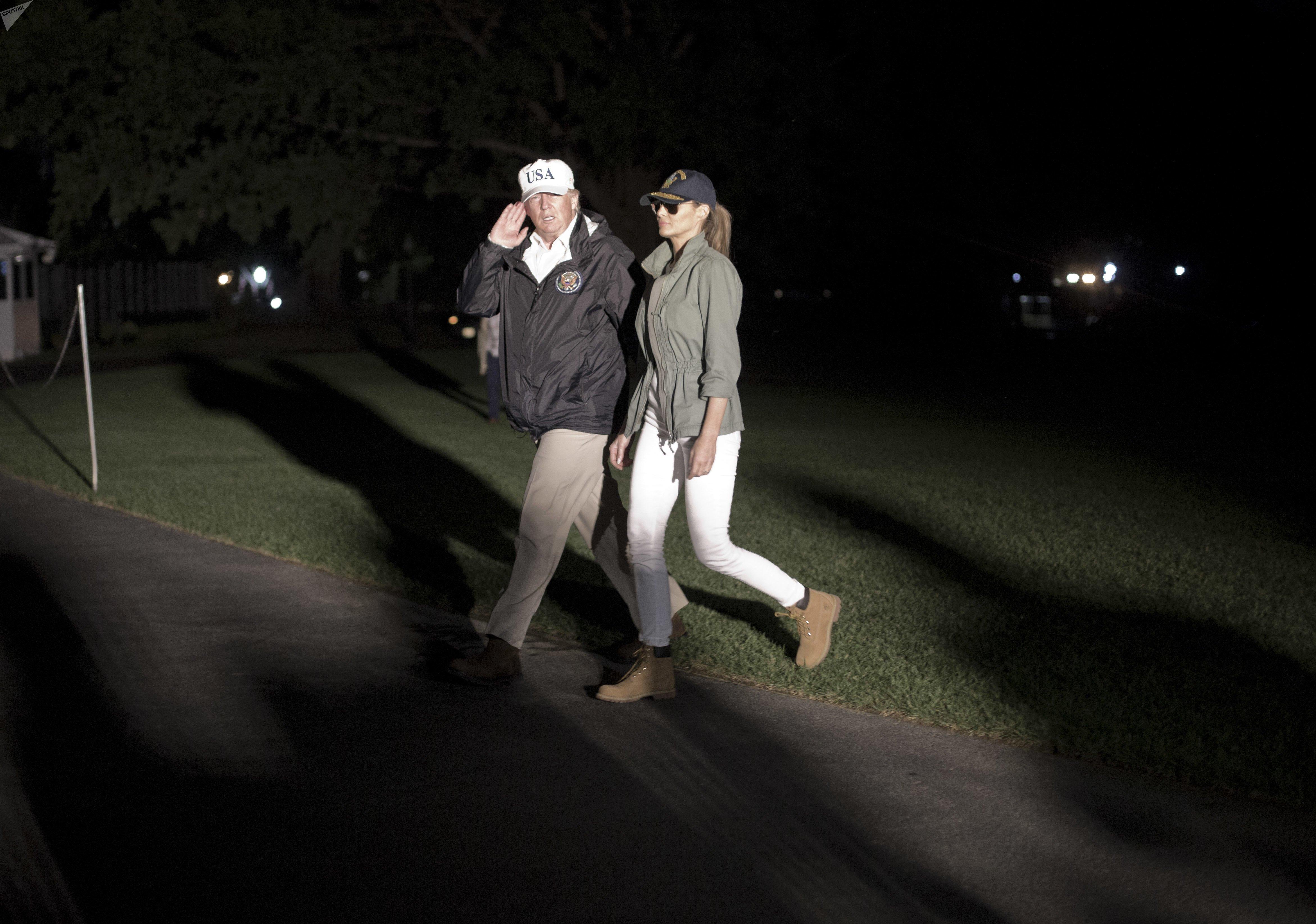 Donald et Melania Trump après le voyage à Porto Rico, le 3 octobre 2017