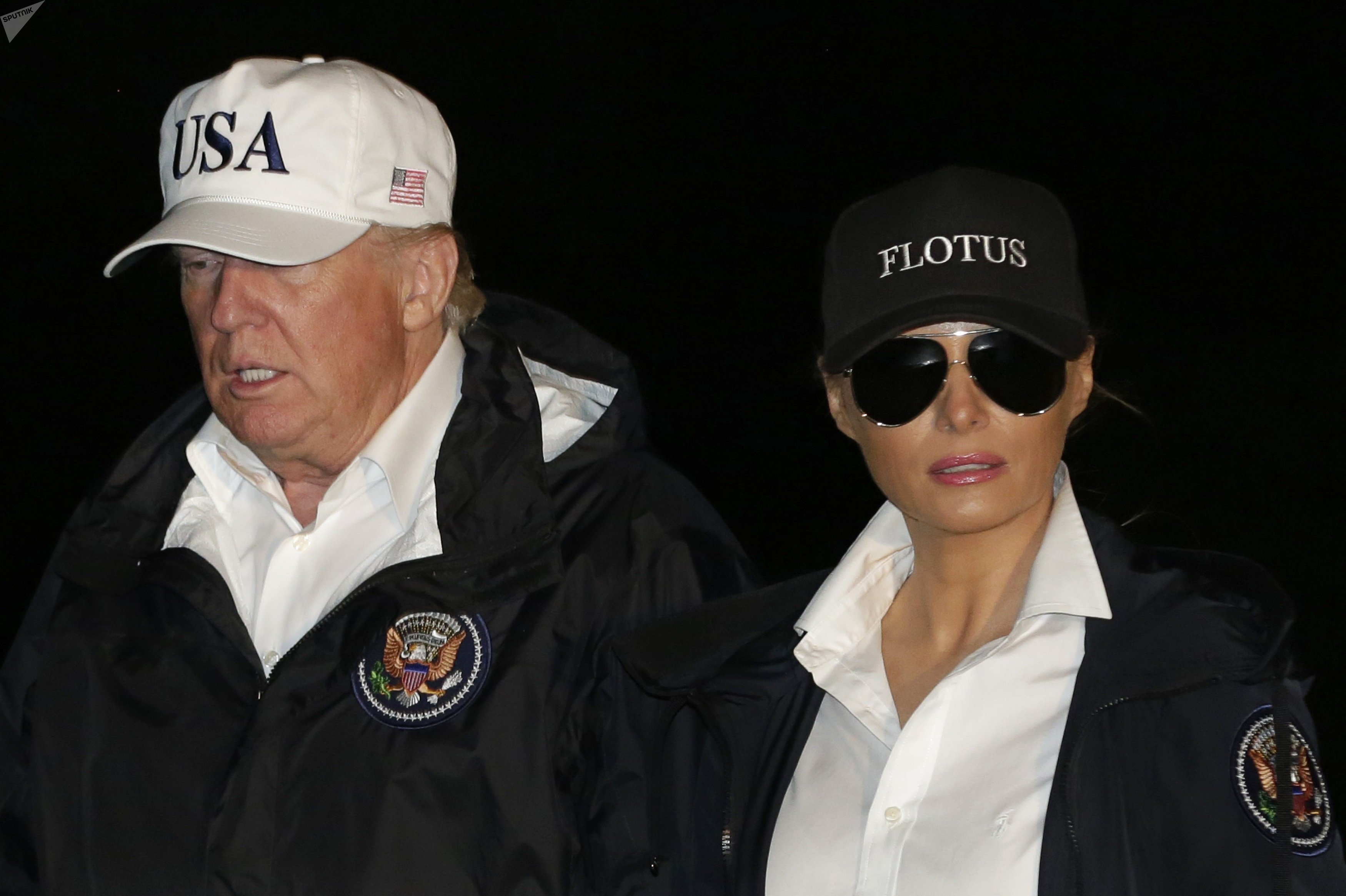 Donald et Melania Trump rentrent de Houston au Texas, le 29 août 2017