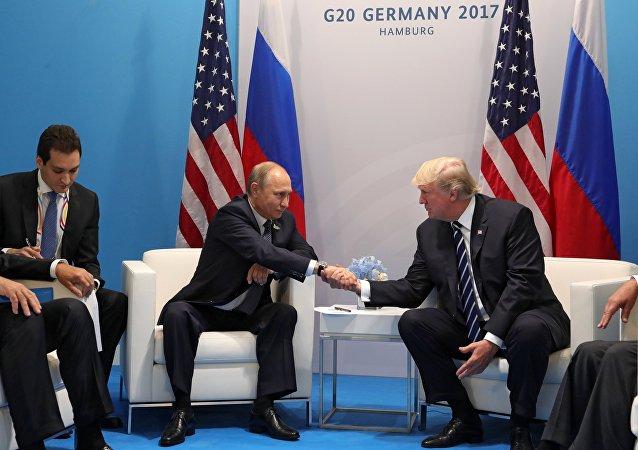 Vladimir Poutine et Donald Trump en marge du sommet G20 en juillet 2017