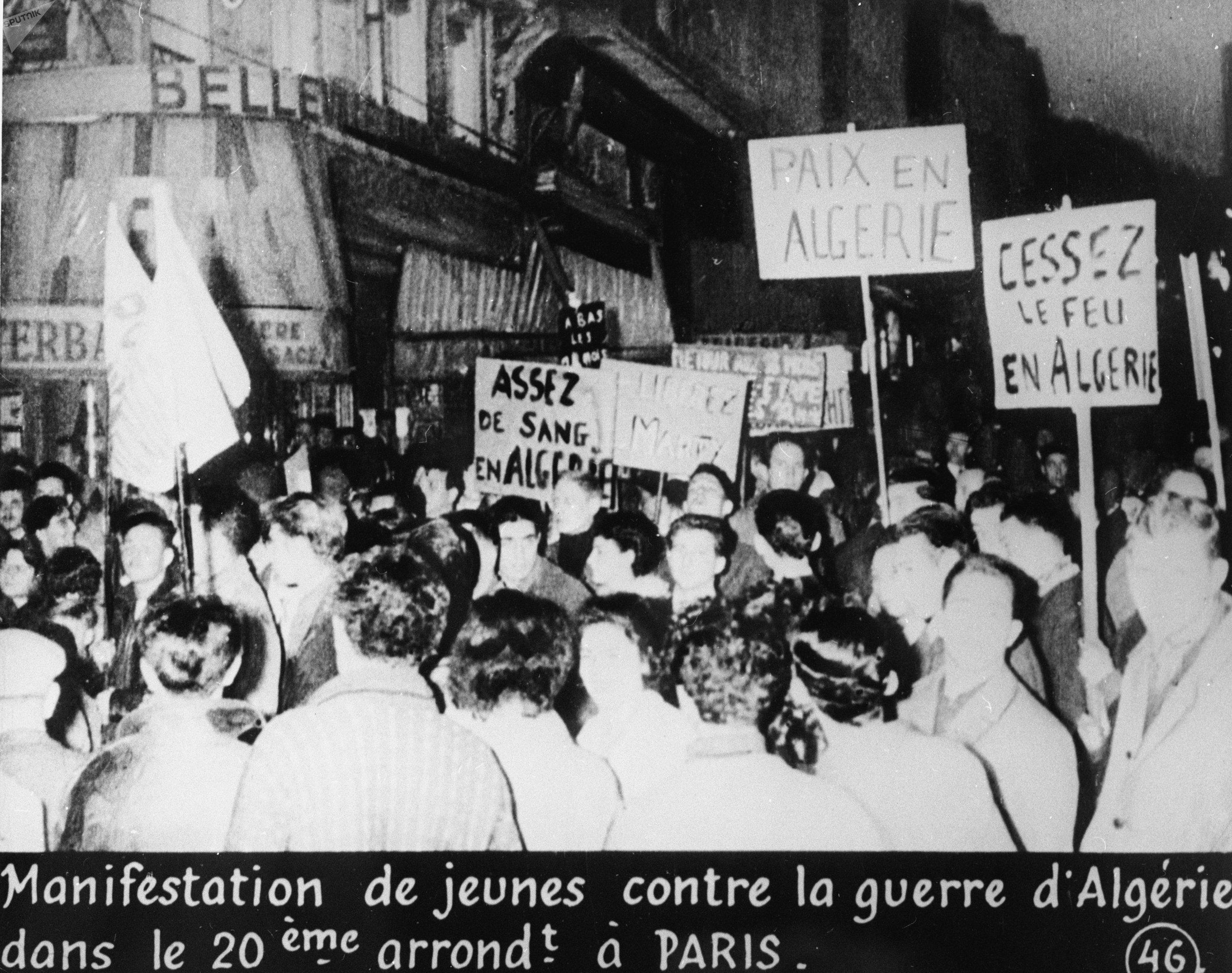 la manifestation contre la guerre en Algérie