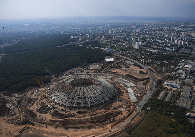 Le stade Samara Arena. Vue depuis un hélicoptère