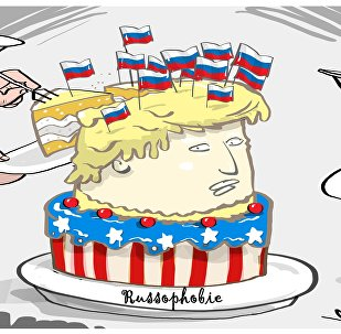 Donald Trump a été attaqué par un militant muni de petits drapeaux russes