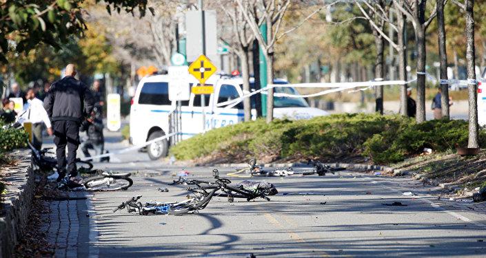 Piste cyclable après l'attentat de Manhattan