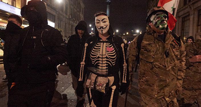 Action Marche du million de masques à Londres, 2017