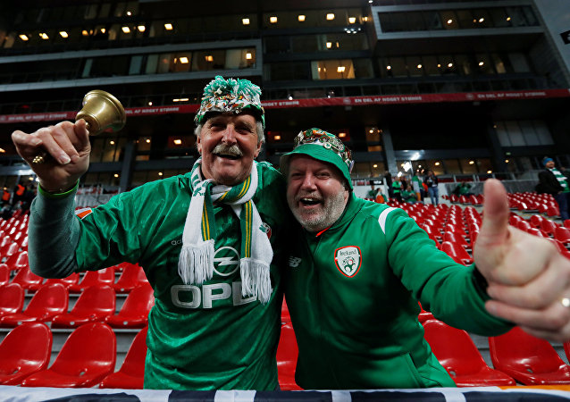 Soccer Football - 2018 World Cup qualifications - Europe - Denmark vs Republic of Ireland - Parken Stadium, Copenhagen, Denmark - November 11, 2017 Republic of Ireland fans before the match Action Images via Reuters/Andrew Couldridge
