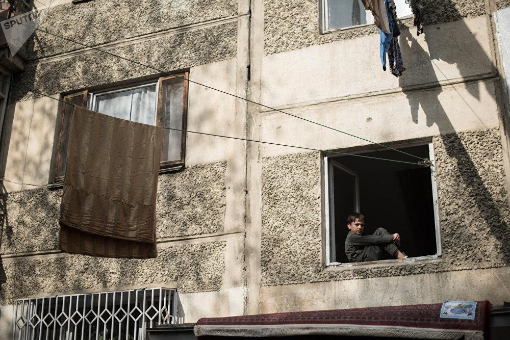 La cour d'un immeuble de Kaboul.