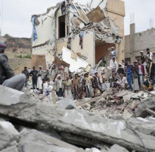 Une maison de Sanaa détruite par une frappe aérienne