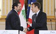 Emmanuel Macron et Saad Hariri. Photo d'archive