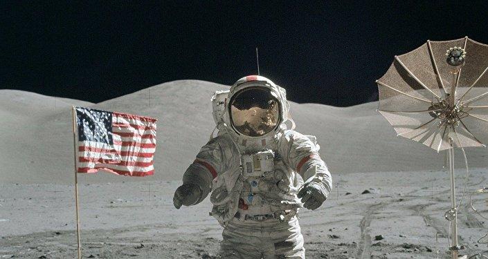 La photo prise lors du premier débarquement lunaire