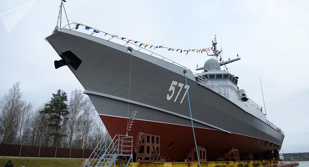 Cérémonie de mise à l'eau de la corvette lance-missiles Taïfoun du projet 22800 à Saint-Pétersbourg