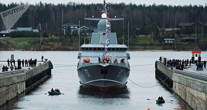 La mise à l'eau de la corvette Taïfoun du projet 22800