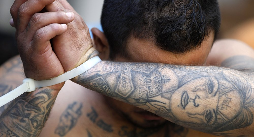 An alleged member of the Mara Salvatrucha gang covers his face after being detained during a police raid in San Salvador, El Salvador, Friday, Jan. 31, 2014.