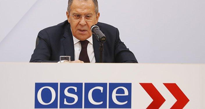Sergeï Lavrov lors de conférence de presse à l'issue d'une réunion plénière du Conseil des ministres de l'OSCE à Vienne