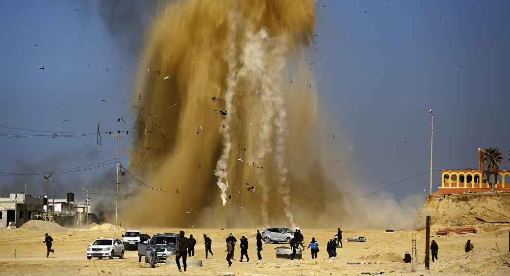 Frappe israélienne dans la bande de Gaza. Image d'illustration