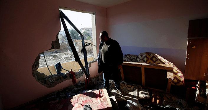 Maison détruite par une frappe israélienne contre la bande de Gaza