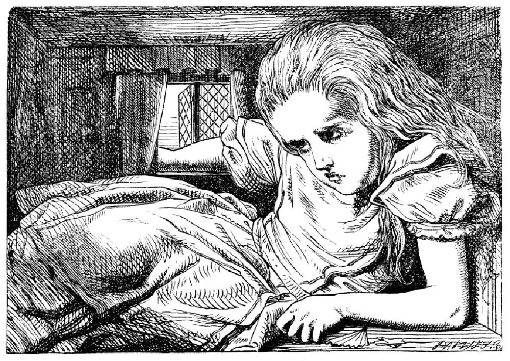Illustration des symptômes de la micropsie par Lewis Carroll's