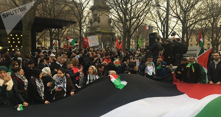 Une manifestation pro-palestinienne se tient place du Châtelet