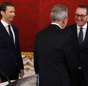 Sebastian Kurz, Alexander Van der Bellen et Heinz-Christian Strache