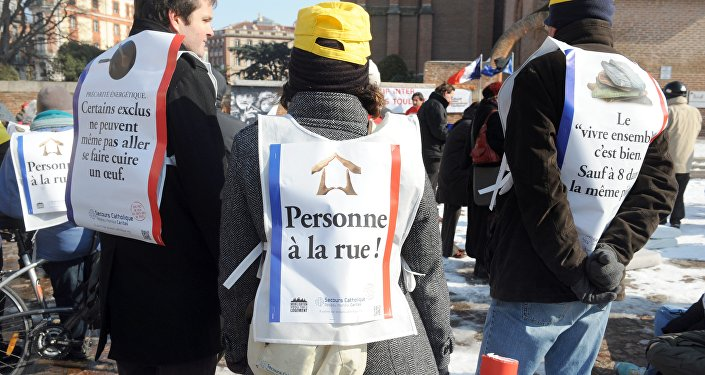 Manifestation des membres du Secours catholique. Photo d'archive