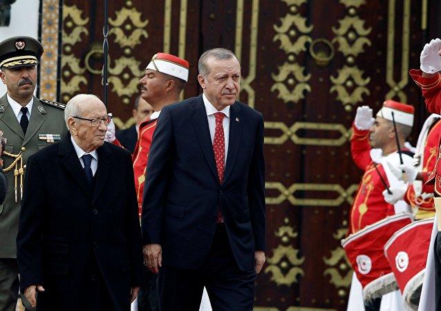 Le président turc Recep Tayyip Erdogan et le Chef de l'État tunisien Beji Caïd Essebsi, mercredi 27 décembre, Carthage
