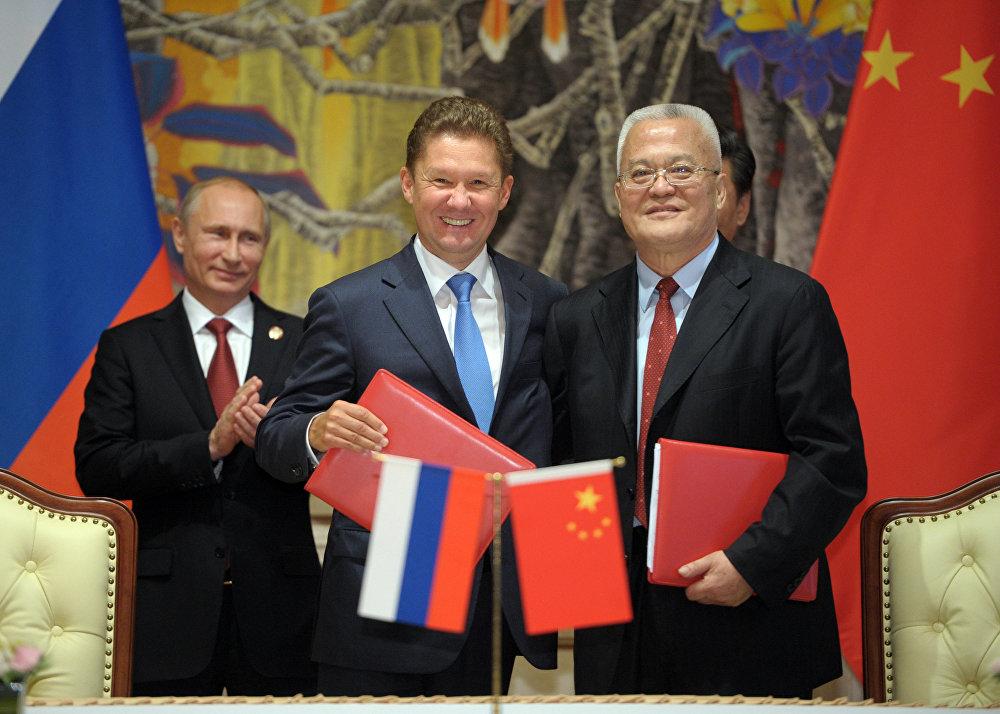 La signature de l'accord sur les livraisons du gaz russe en Chine, le 21 mai 2014
