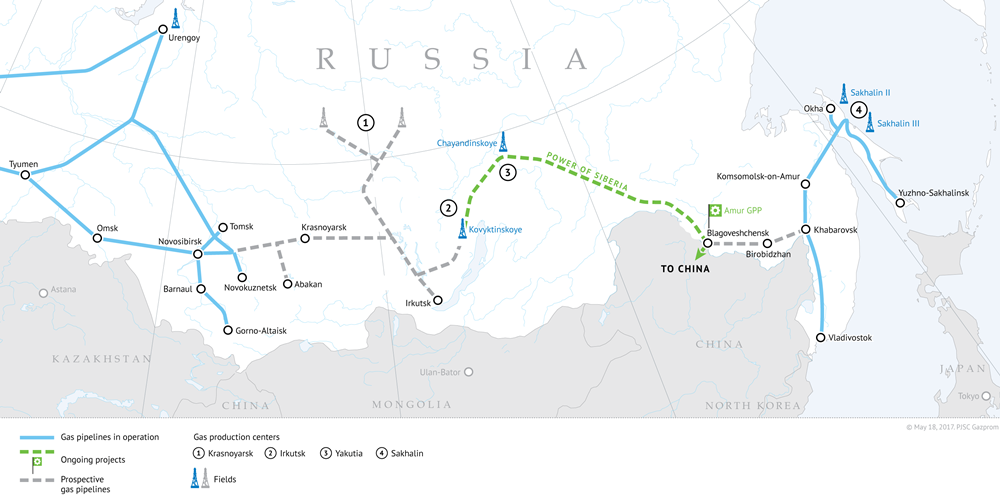 Le système de transport du gaz en Sibérie orientale et en Extrême-Orient