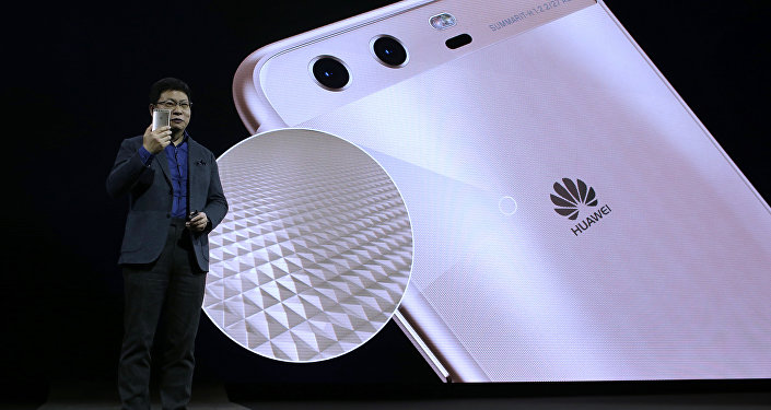 Chief executive officer of consumer devices division for Huawei Technologies Co. Richard Yu presents the new phone Huawei P10 Plus before the Mobile World Congress in Barcelona, Spain