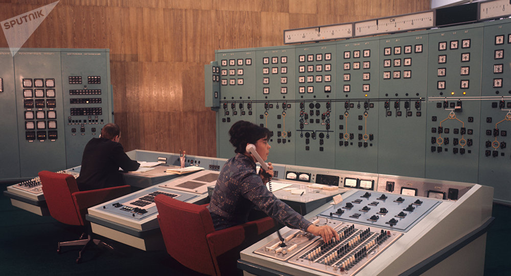 Panneau de contrôle de la centrale hydraulique de Krasnoïarsk (Russie)
