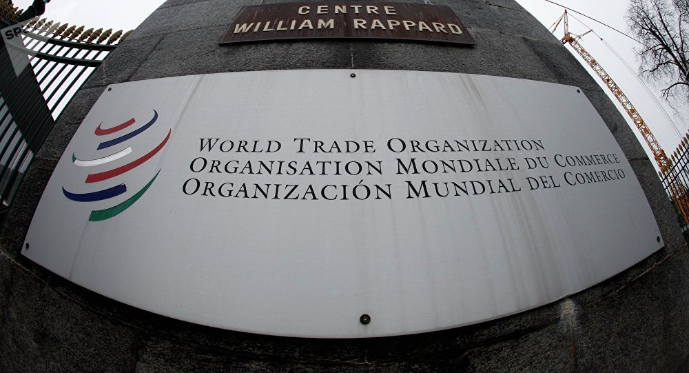 World Trade Organization (WTO) logo at the entrance of the WTO headquarters in Geneva