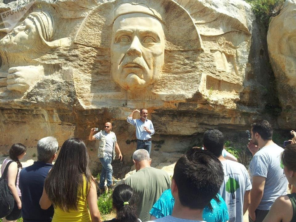 Part of the bas-relief created by Syrian sculptor Alaa Ali Muhammed