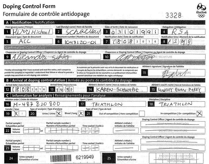 le Formulaire de contrôle de dopage de Henri Schoeman