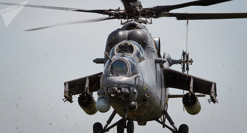 Mi-35M helicopters on training flights in Krasnodar Territory