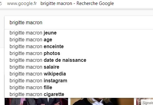 Recherches sur Google associées à la Première dame