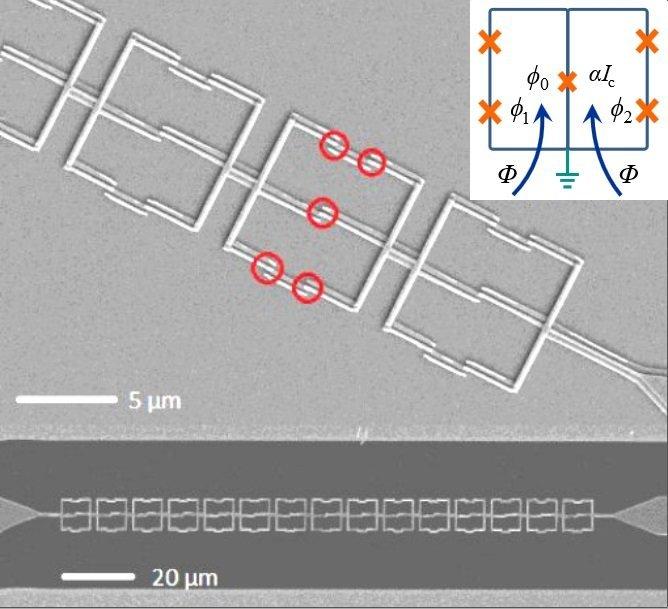 Microphotographie d'une chaîne de qubits symétriques