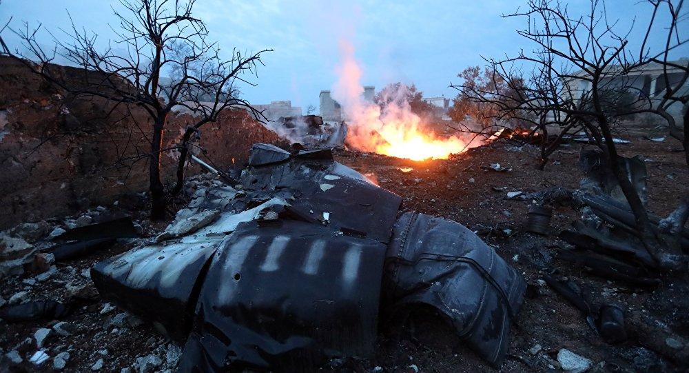 Les débris du Su-25 abattu en Syrie le 3 février 2017