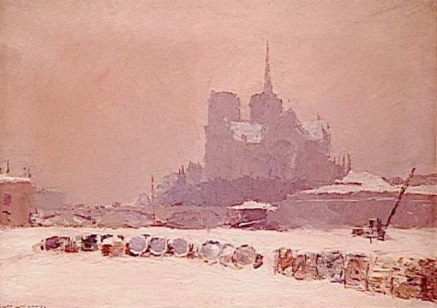 La Notre Dame, neige, ca.1895
