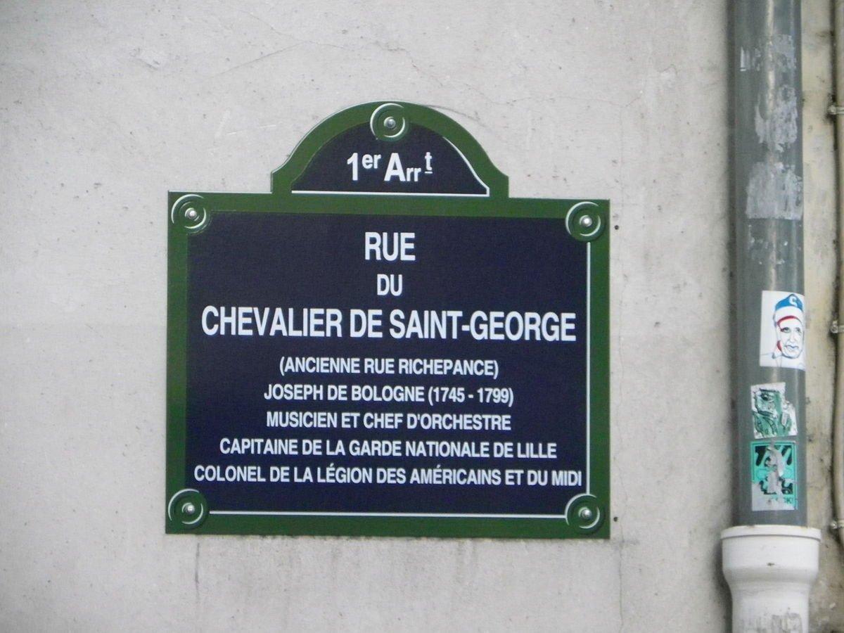 Plaque rue du Chevalier de Saint-George à Paris