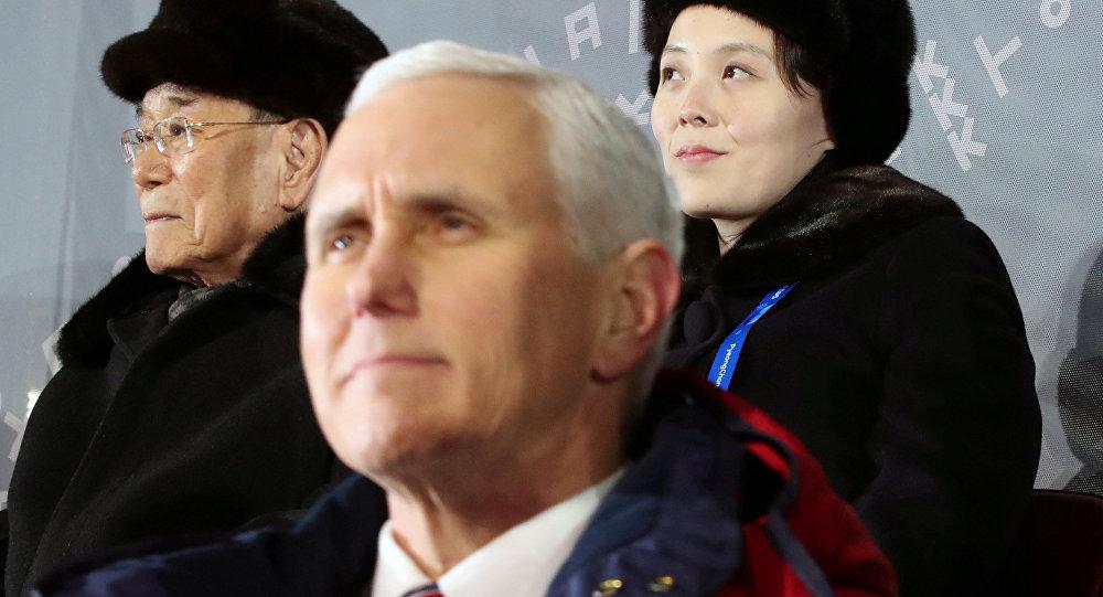 Le vice-Président US Mike Pence et la soeur cadette du dirigeant nord-coréen Kim Jong-un, Kim Yo-jong lors de l'ouverture des JO-2018 à Pyeongchang