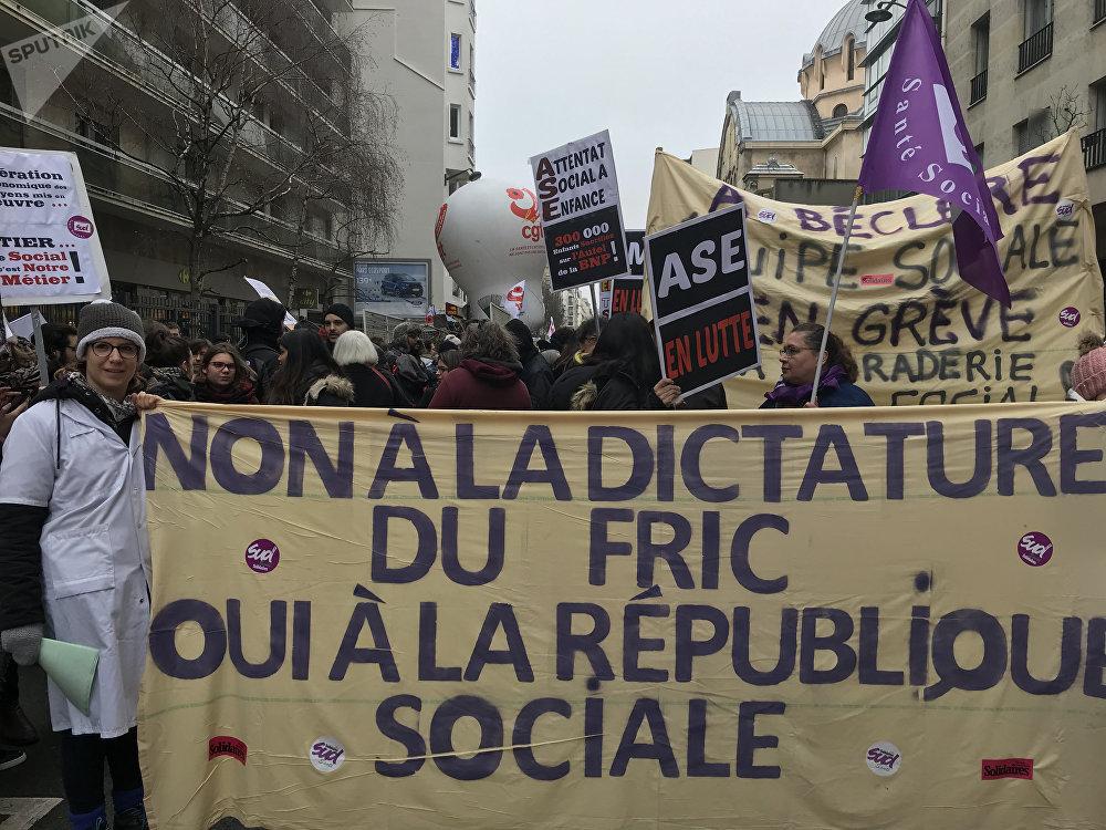 Manifestation nationale du travail social, Paris, 14 février 2018