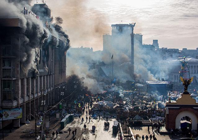 Sur la place de l'Indépendance (Maïdan) à Kiev. Archive photo