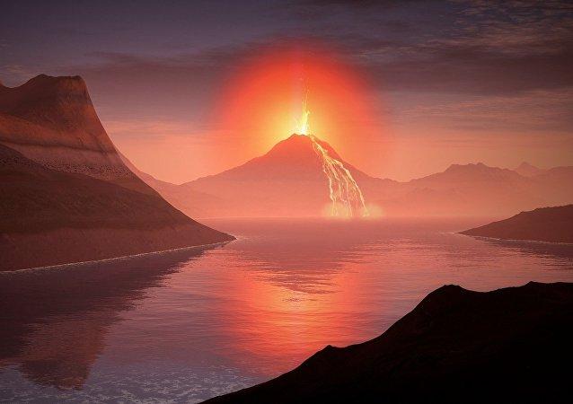 Un volcan. Image d'illustration