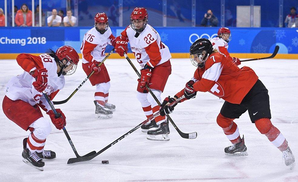 Le match des quarts de finale opposant l'équipe des athlètes olympiques de Russie à la sélection suisse