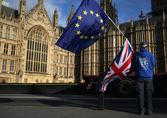 Un manifestant anti-Brexit à Londres
