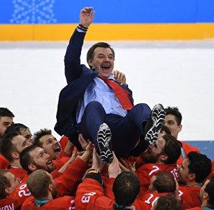 Oleg Znarok, l'entraîneur en chef de l'équipe russe de hockey masculin